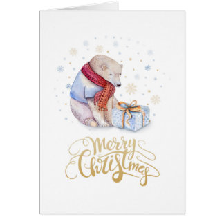 Merry Christmas Watercolor illustration Card