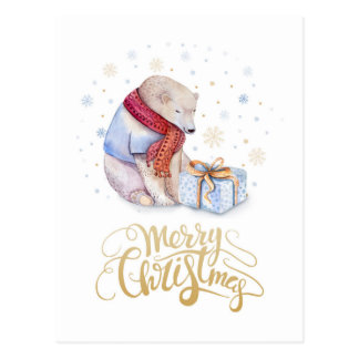 Merry Christmas Watercolor illustration Postcard