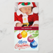 Merry Christmas Watercolor Ornaments Holiday