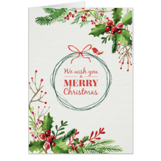 Merry Christmas watercolor painted mistletoe Card