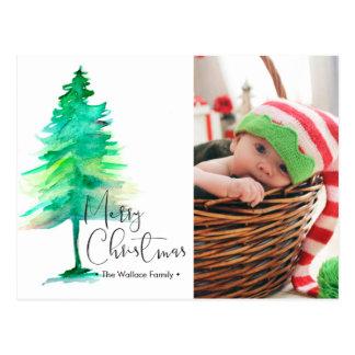 Merry Christmas, Watercolor Pinetree, Photo Postcard