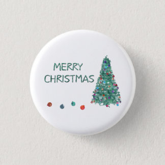 Merry Christmas Watercolor Tree Pinback Button