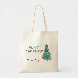 Merry Christmas Watercolor Tree Tote Bag
