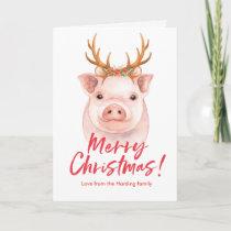 Merry Christmas watercolor wreath Christmas Card