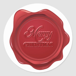 Merry Christmas Wax Seal Effect Classic Round Sticker