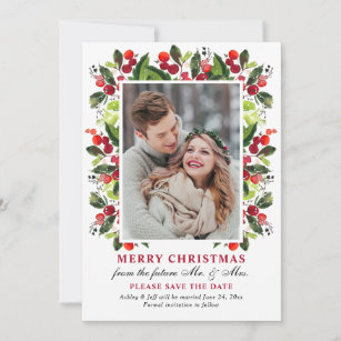 Christmas Save The Date Cards.Merry Christmas Wedding Holiday Save The Date Card