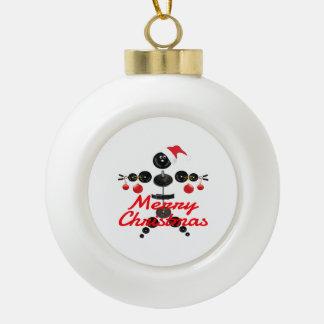 Merry Christmas Weightlifter Cartoon Ornament