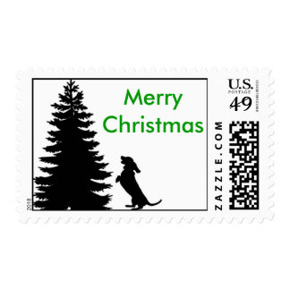 Merry Christmas Weiner Dog Postage Stamp
