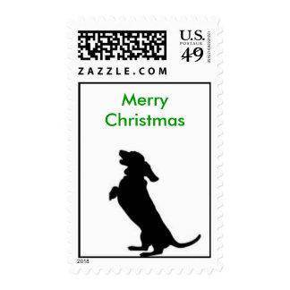Merry Christmas Weiner Postage Stamp