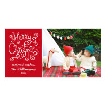 Merry Christmas Whimsical Calligraphy Swirl Photo Card