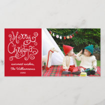 Merry Christmas Whimsical Calligraphy Swirl Photo Holiday Card
