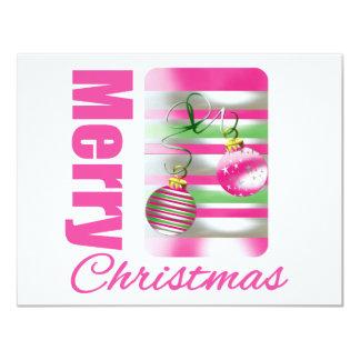 Merry Christmas Whimsical Pink Ornaments Custom Invitations