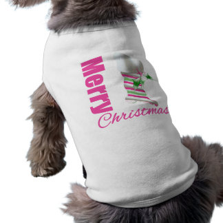 Merry Christmas Whimsical Pink Stocking Pet Clothes
