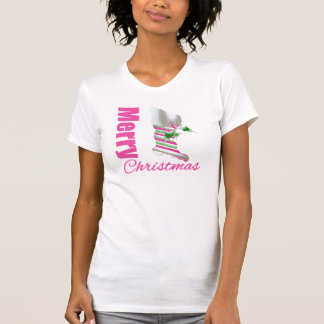 Merry Christmas Whimsical Pink Stocking T-Shirt