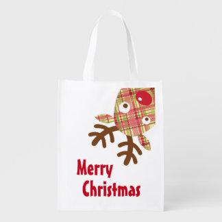 Merry Christmas Whimsical Reindeer Grocery Bag