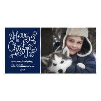 Merry Christmas Whimsical Swirl Typography Photo Card