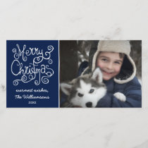 Merry Christmas Whimsical Swirl Typography Photo Holiday Card