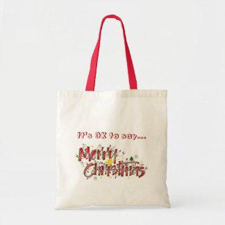 """Merry Christmas """"Whimsical"""" tote Budget Tote Bag"""