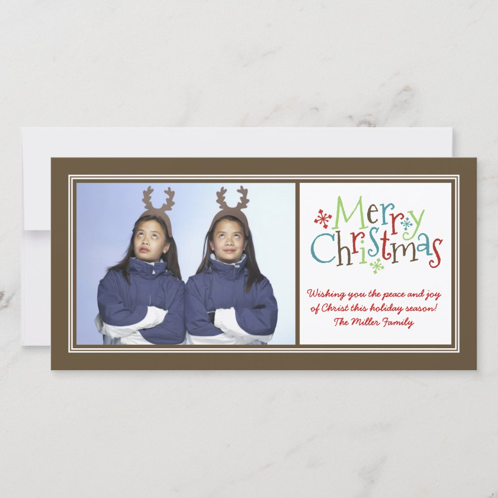 Merry Christmas Whimsy Family Photo Greeting Card