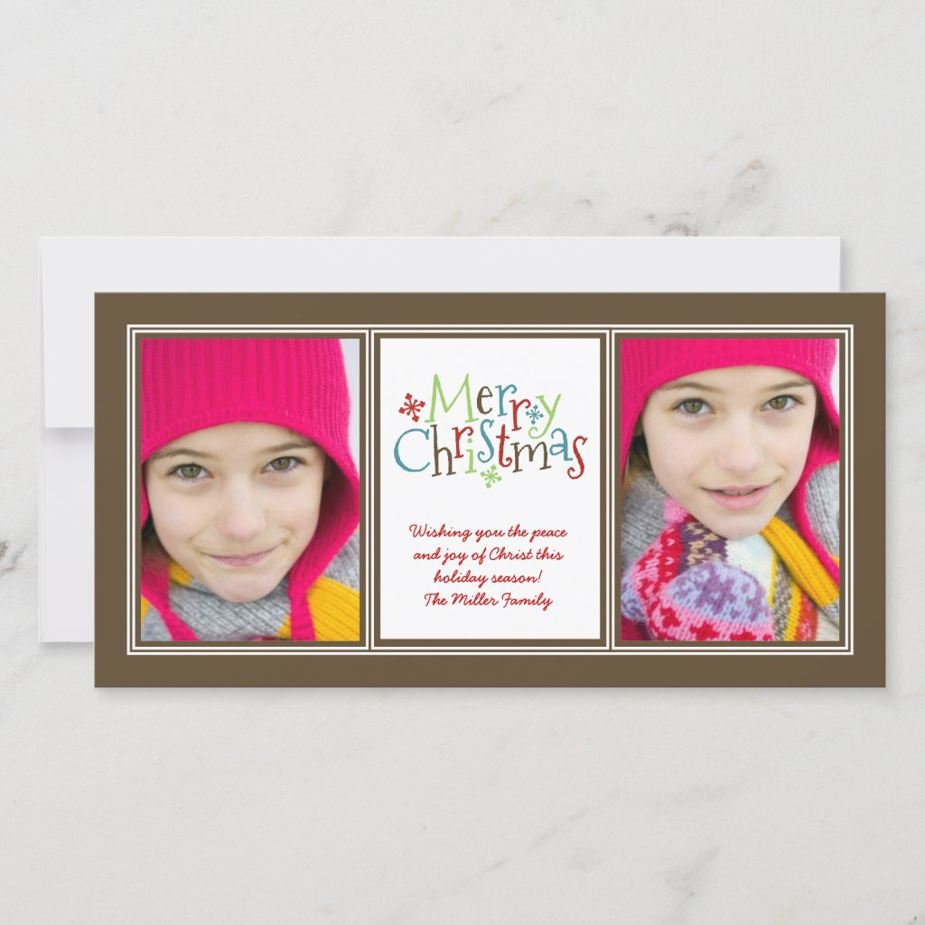 Merry Christmas Whimsy Photo Duo Greeting Card