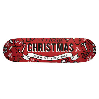Merry Christmas White and Red Characters Pattern Skateboard Deck