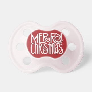 Merry Christmas white Baby Pacifier