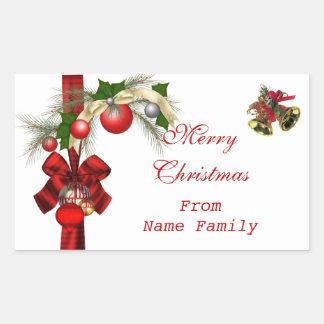 Merry Christmas White Balls Gold Red Xmas Party Rectangular Sticker