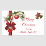 Merry Christmas White Balls Gold Red Xmas Party Sticker