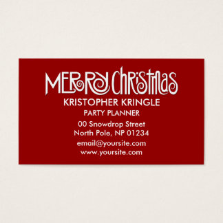 Merry Christmas white Business Card