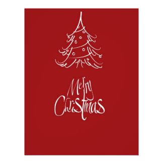 Merry Christmas White Christmas Tree Outline Flyer