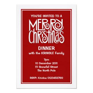 Merry Christmas white Dinner Invitation