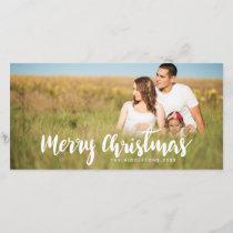 Merry Christmas White Handwritten Script | Photo Holiday Card