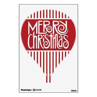 Merry Christmas white Hot Air Balloon Wall Decal