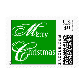 Merry Christmas White on Green Postage Stamp