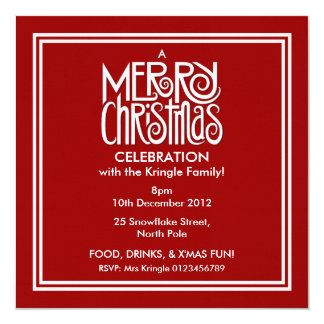 Merry Christmas white on red Party Invitation
