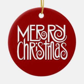 Merry Christmas white Ornament