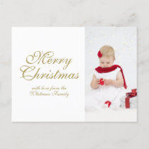 Merry Christmas White Personalized Photo Holiday Postcard