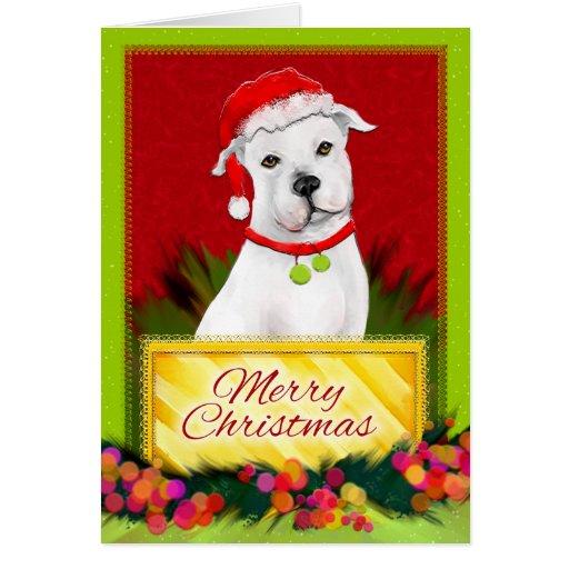 Merry Christmas White Pitbull Christmas Card