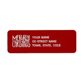 Merry Christmas white Return Address Label label