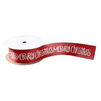 Merry Christmas white Satin Ribbon
