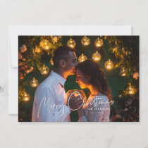 Merry Christmas White Script Overlay Name Photo Holiday Card