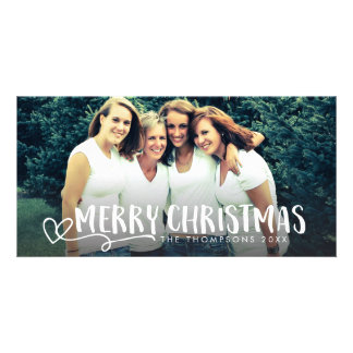 Merry Christmas White Script Photo Overlay Cards