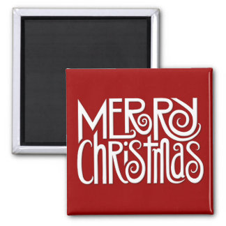 Merry Christmas white Square Magnet