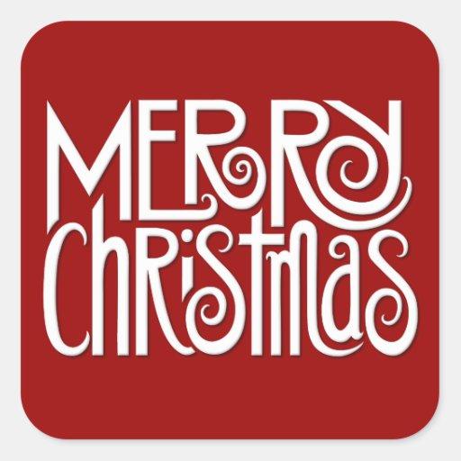 Merry Christmas white Square Sticker