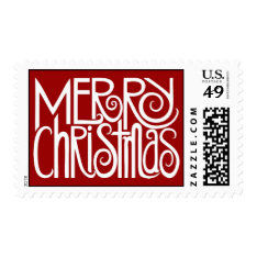 Merry Christmas White Stamp at Zazzle