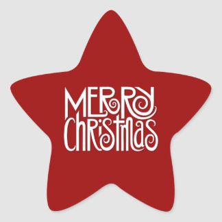 Merry Christmas white Star Sticker