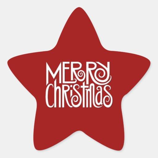 Merry Christmas white Star Sticker