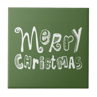 Merry Christmas - white Text Design Ceramic Tile