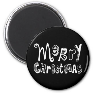 Merry Christmas - white Text Design Magnet