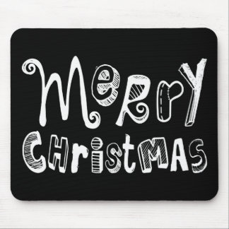 Merry Christmas - white Text Design Mouse Pad